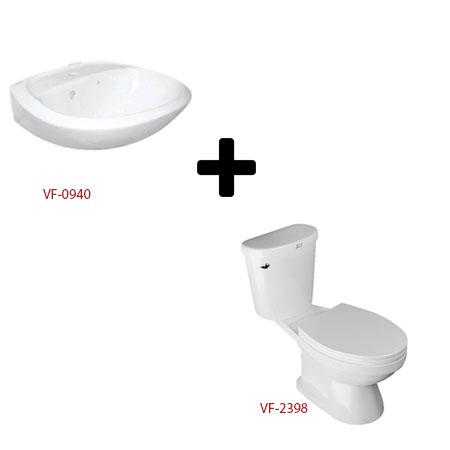 Bộ sản phầm bàn cầu hai khối và chậu lavabo VF-2398+VF-0940