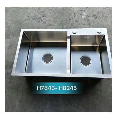 Chậu rửa bát giá rẻ đúc liền khối 2 hố lệch Korea TP-H-8245