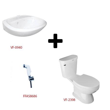 Bộ sản phẩm bàn cầu chậu lavabo và vòi xịt toilet American VF-2398+VF-0940 +FFAS8686
