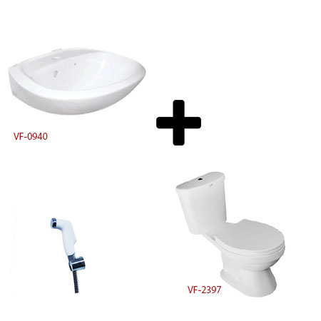 Bồn cầu American và bộ sản phẩm chậu lavabo, vòi xịt VF-2397+ VF-0940 + FFAS8686 (W8) (Combo American)