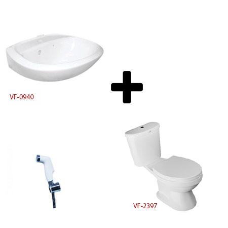 Bộ sản phẩm bồn cầu chậu lavabo và vòi xịt American VF-2397+ VF-0940 + FFAS8686