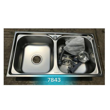 Chậu rửa bát giá rẻ 2 hố cân Korea TP-7843