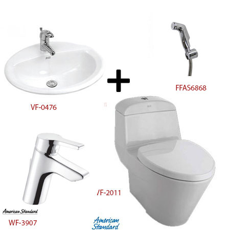 Bồn cầu American kèm bộ sản phẩm phòng tắm – Gói V3 (Combo American)