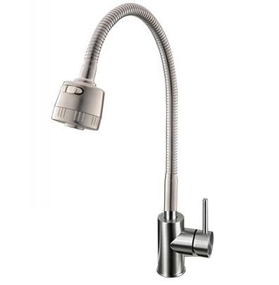 Vòi rửa bát nóng lạnh Inox mờ cần mềm Yadanli VI304M