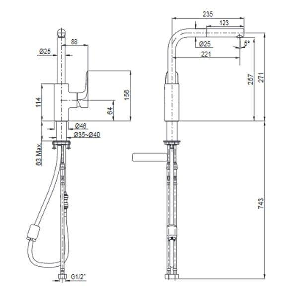 Vòi rửa bát Kohler K-99175T-4-CP
