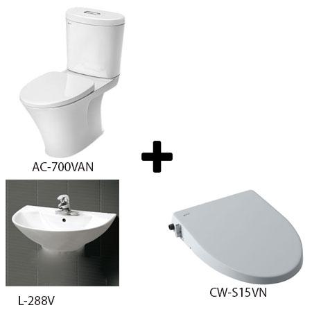 Bồn cầu Inax AC-700VAN kèm sản phẩm đồng bộ Combo 700123