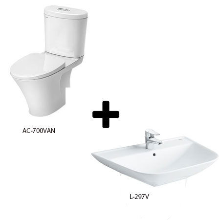 Bồn cầu Inax AC-700VAN kèm chậu lavabo L-297V