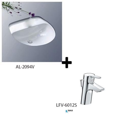 Chậu lavabo kèm vòi rửa Inax AL-2094V+LFV-6012S