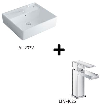 Chậu lavabo kèm vòi rửa Inax AL-293V+LFV-402S