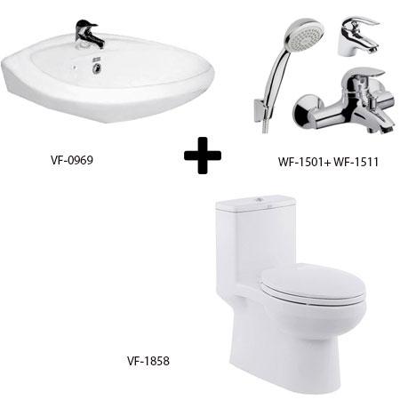Bồn cầu American kèm bộ sản phẩm phòng tắm gói C12 (Combo American)