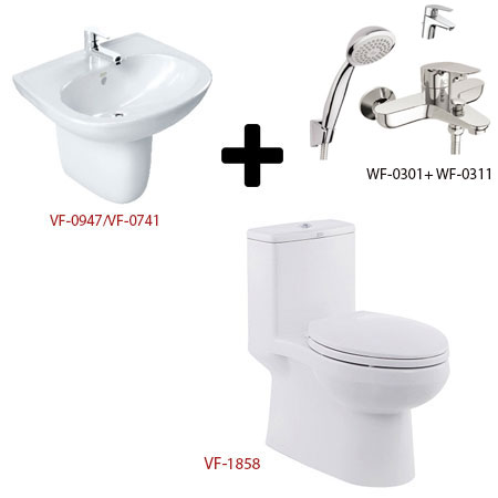 Bồn cầu American kèm bộ sản phẩm phòng tắm Gói C17 (Combo American)