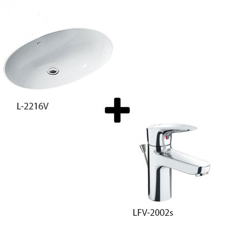 Chậu lavabo kèm vòi rửa Inax L-2216V+LFV-2002S