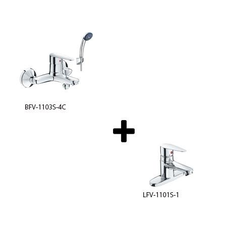 Sen tắm kèm vòi rửa lavabo Inax LFV-1101S-1+BFV-1103S-4C