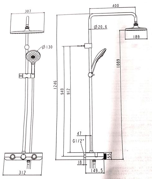 Sen cây tắm cảm biến nhiệt độ American Standard WF-4955