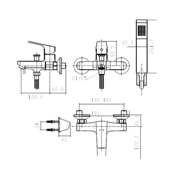 Sen tắm gắn tường nóng lạnh American WF-0411