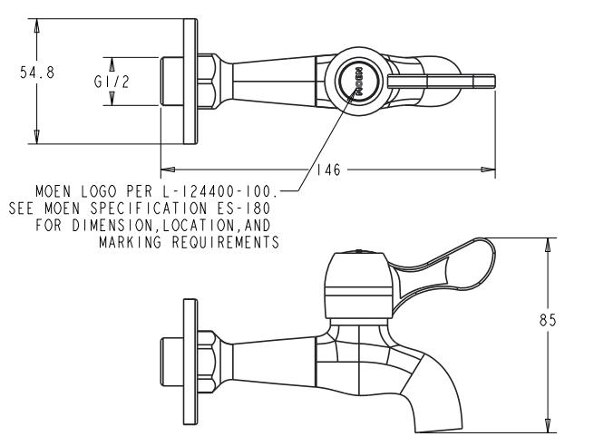 Vòi xả lạnh gắn tường Moen 9010-30