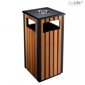 Thùng rác thép bọc gỗ Ecolife ECO 301