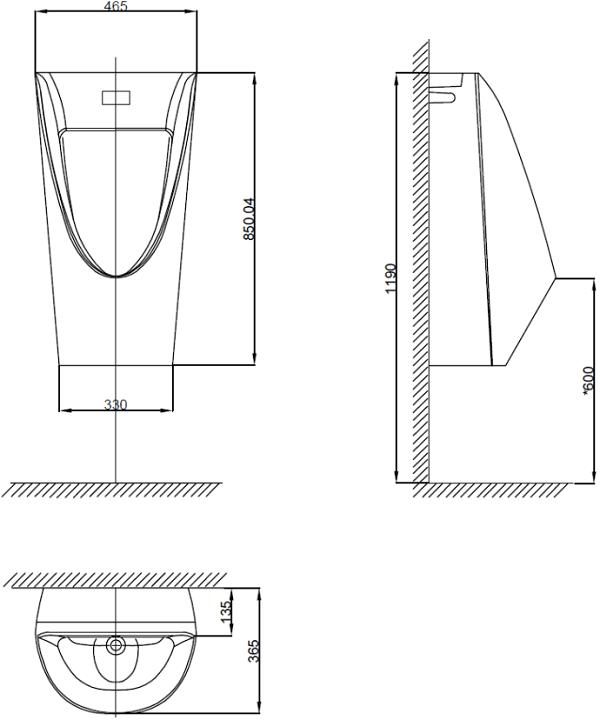 Bồn tiểu nam treo tường American WP-6507