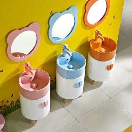 Chậu lavabo trẻ em có tủ dáng tròn