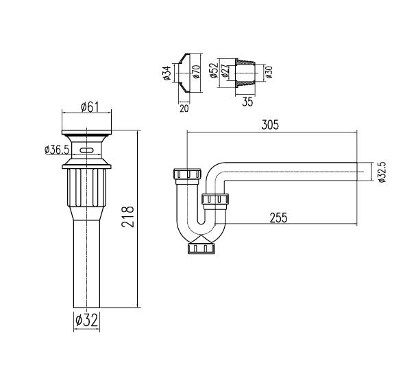 Ống thải chữ P inax A-325PS