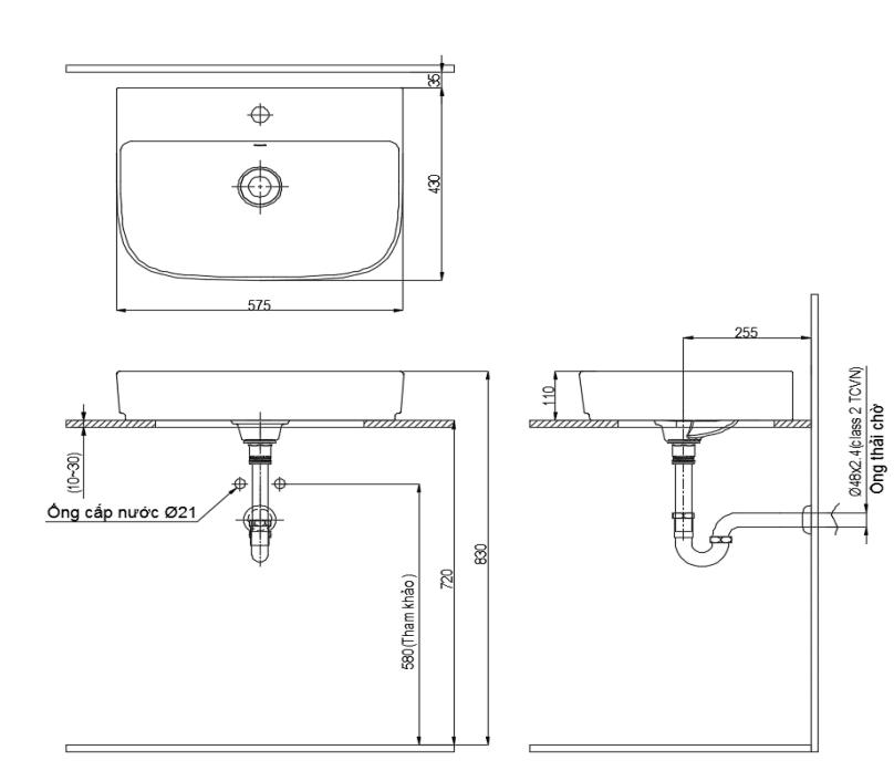 Chậu rửa đặt bàn Inax AL-632V(chưa bao gồm đầu chặn sứ)
