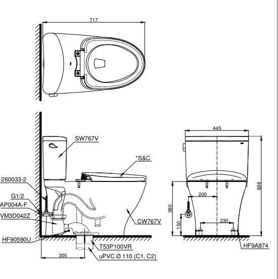 Bồn cầu ToTo hai khối CS767E2