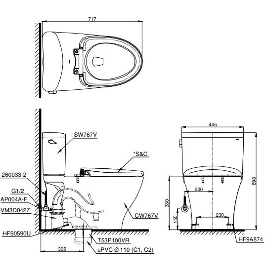 Bồn cầu ToTo CS767W6 hai khối kèm nắp rửa điện tử - Giá tốt 2020