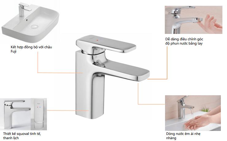 Vòi chậu rửa lavabo nóng lạnh Inax LFV-632S