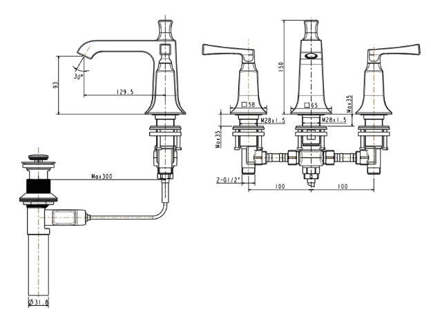 Vòi rửa lavabo nóng lạnh 3 lỗ American WF-1603
