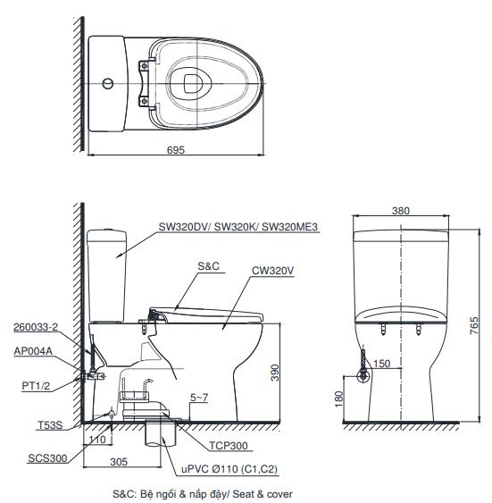 Bồn cầu ToTo CS320DKMT8 hai khối