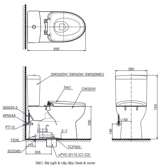 Bồn cầu ToTo CS325DMT8 hai khối