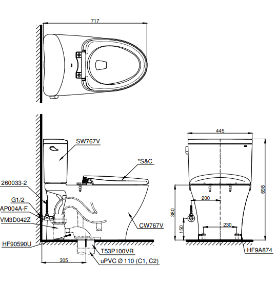 Bồn cầu ToTo CS767W11 hai khối
