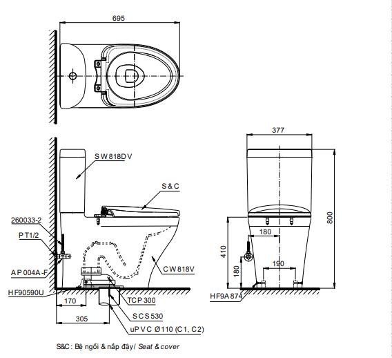 Bồn cầu ToTo CS818DT8 hai khối