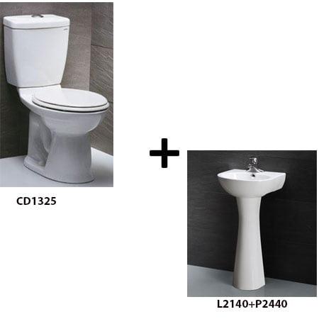 Bồn cầu Caesar CD1325 kèm chậu chân đứng (Gói E5)