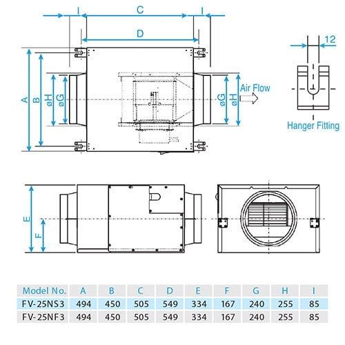 Quạt hút cabinet Panasonic FV-25NS3