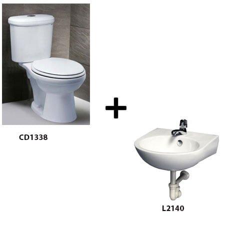 Bồn cầu Caesar CD1338 kèm chậu rửa L2140 (Gói G1)
