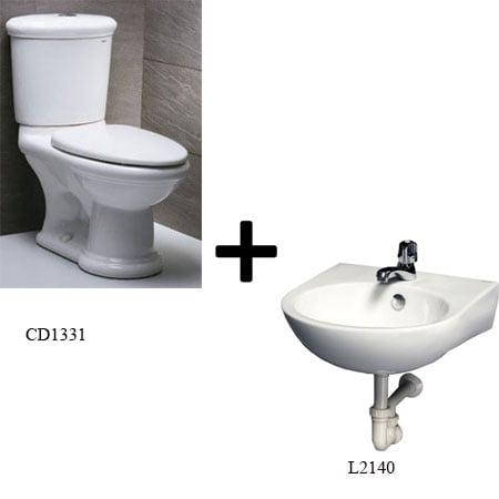 Bồn cầu Caesar CD1331 kèm chậu rửa (Gói I1)
