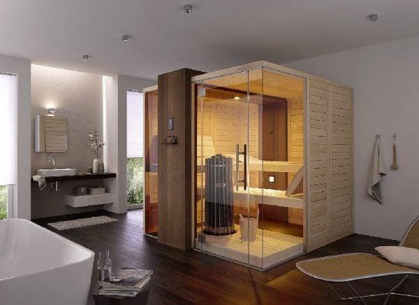 Phòng xông hơi khô làm từ gỗ với khá nhiều trang bị đi kèm