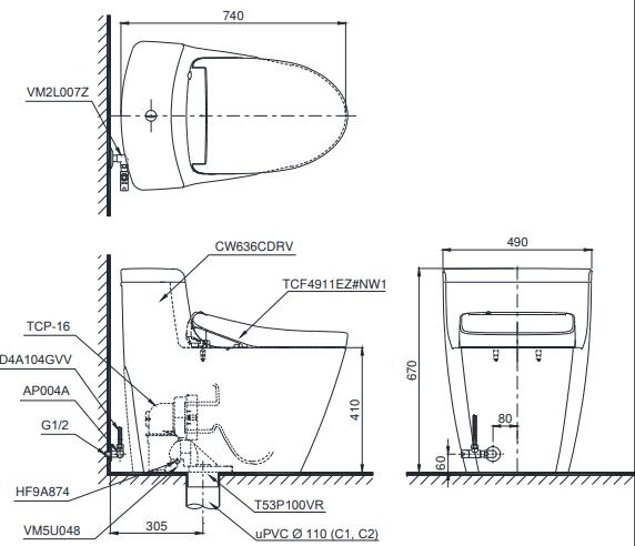 Bồn cầu ToTo MS636CDRW12 một khối