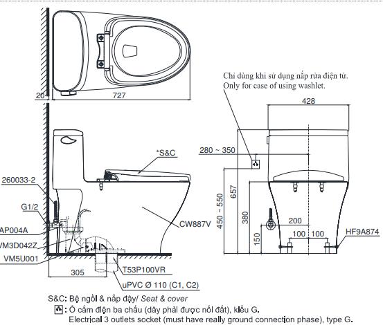 Bồn cầu ToTo MS887T2 một khối