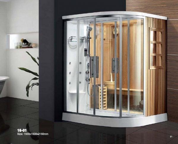 Phòng xông hơi dạng góc nhỏ gọn tiết kiệm không gian