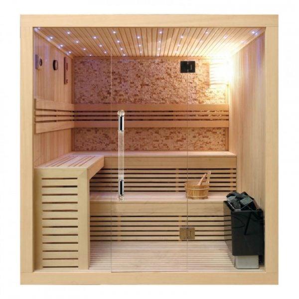 Phòng xông hơi khô hiện đại có nhiều phụ kiện đi kèm