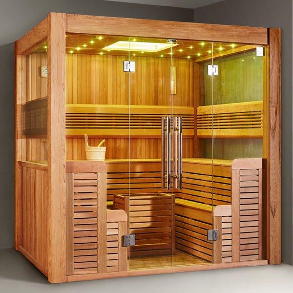 Phòng xông hơi khô hoạt động dưới hình thức tăng nhiệt độ bằng đá hun nóng
