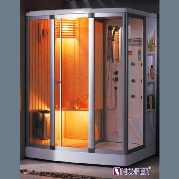 Phòng tắm xông hơi Nofer SN-601R được sản xuất bằng các thanh gỗ thông cao cấp