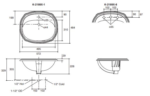 Chậu rửa lavabo KohlerK-2189T-8-0