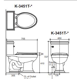 Bồn cầu Kohler K-3451T-0 một khối