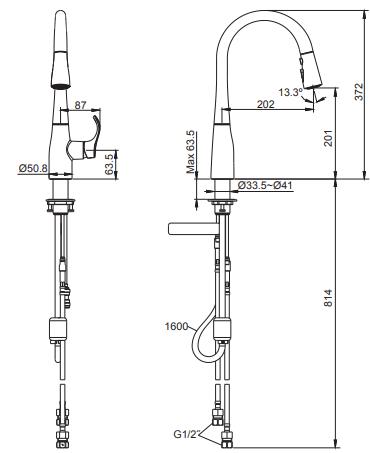 Vòi rửa bát Kohler K-597T-B4-CP