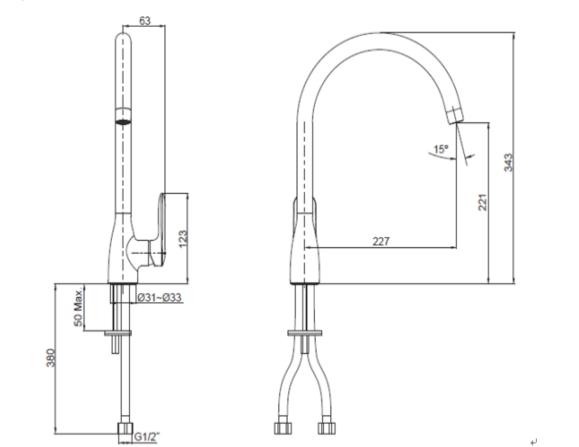 Vòi rửa bát Kohler K-99480T-4-CP