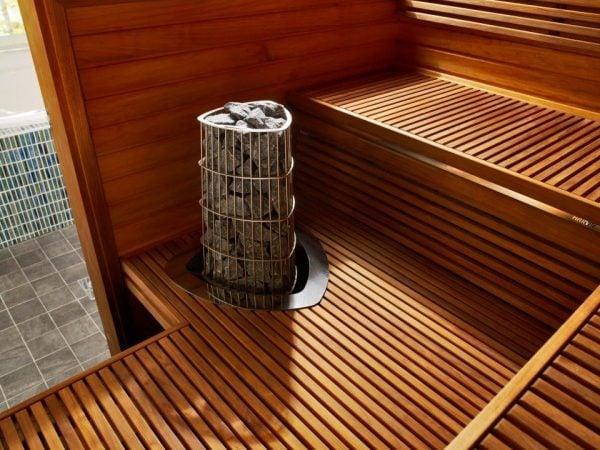 Máy xông hơi sauna hoạt động bằng cách nung đá tạo nhiệt