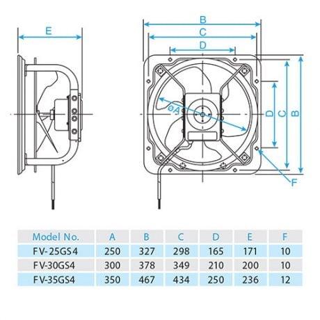 Quạt hút công nghiệp Panasonic FV-25GS4 (Lỗ chờ 27.5×27.5)